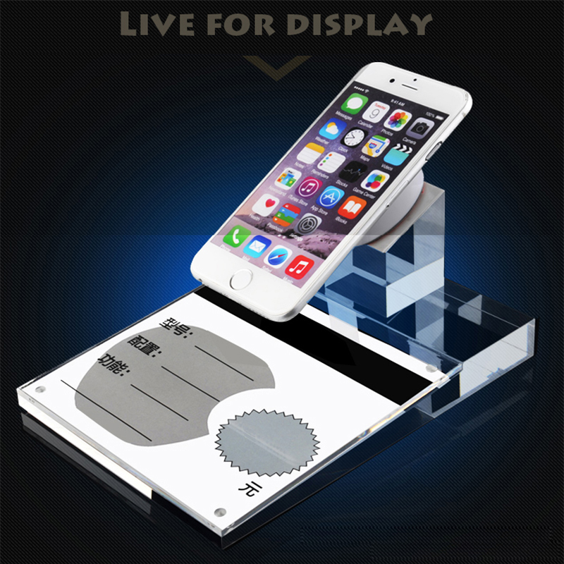 Clear cell phone display security holder Acrylic mobile phone display stand display security stand with pull magnet device