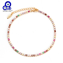 Lucky Eye Colorful Crystal Anklet Bracelet Micro Pave Zircon Leg Feet Ankle for Women Female Fashion Jewelry EY6317