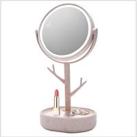 Led makeup mirror with light fill light desktop dorm dress mirror girl net red portable princess mirror