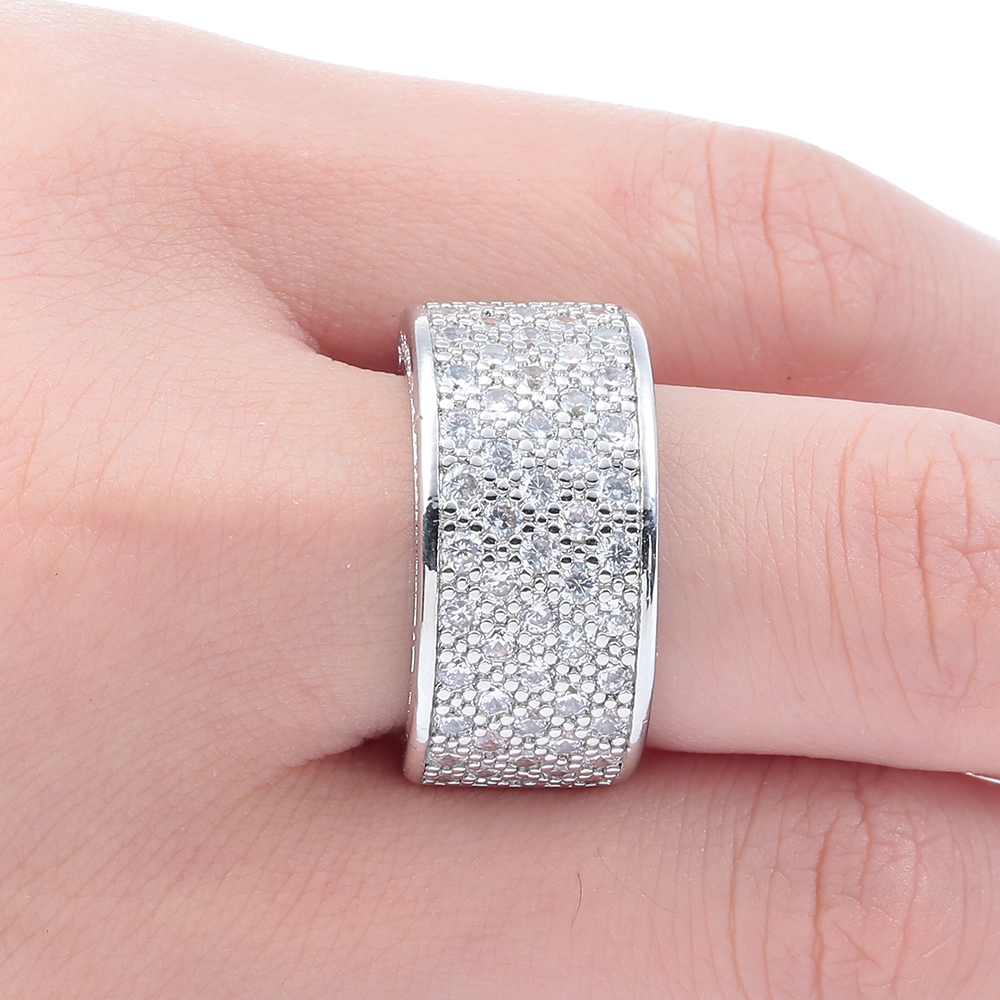 Fine Clear Zirconia Stone Round Circle Wedding Band Rings for Men ...