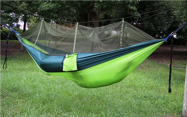 Medium image of outdoor 260 135cm portable high strength parachute cloth hammocks camping sleeping bag mosquito  s siesta