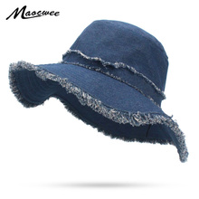 49e454acb5c Girl Wide Brim Bucket Hat Casual Washed Cowboy Solid Navy Flat Top Fishman Panama  Cap With
