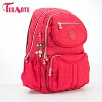 TEGAOTE 2017 School Backpack For Teenage Girls Nylon Women Backpack Solid Famous Casual Female Laptop Bagpack