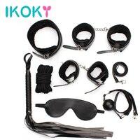 Ikoky 7 шт./компл. Секс-игрушки костюм наручники для footcuff Queen потребляют продукт секса кнут Веревка с завязанными глазами 3 цвета из искусственн...