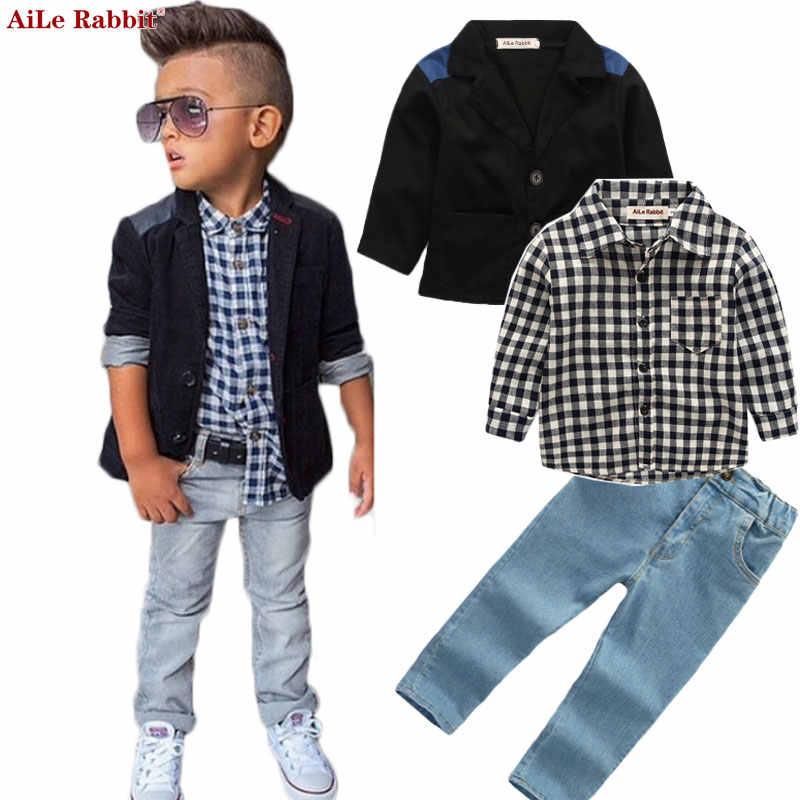 AiLe Rabbit/Новые Осенние комплекты одежды для мальчиков, куртка, рубашки, джинсы костюмы из 3 предметов джинсовая одежда в клетку Детское пальто с длинными рукавами, k1