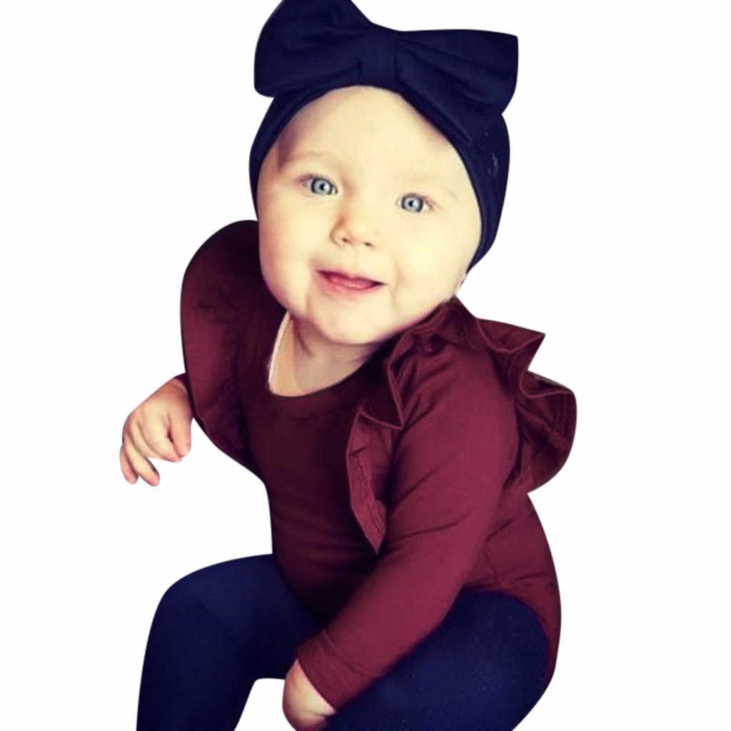 2020 Bayi Musim Semi Musim Gugur Pakaian Baru Lahir Bayi Bayi Gadis Anak Ruffles Lengan Panjang Bodysuit Merampok Solid Celana Kodok Pakaian Set