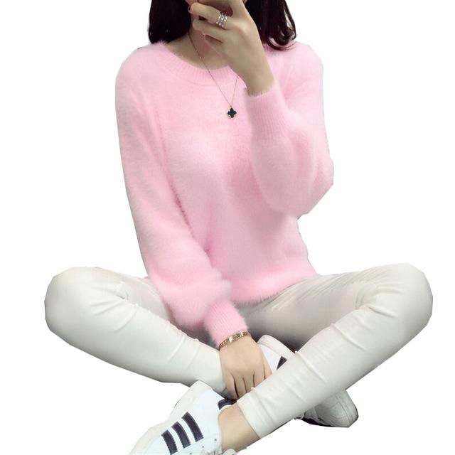 Suéter Suéteres de Las Mujeres 2016 de Invierno de Lana de Manga Larga Femenina Pullovers Kintted Suéteres de Cachemira Mujeres tops
