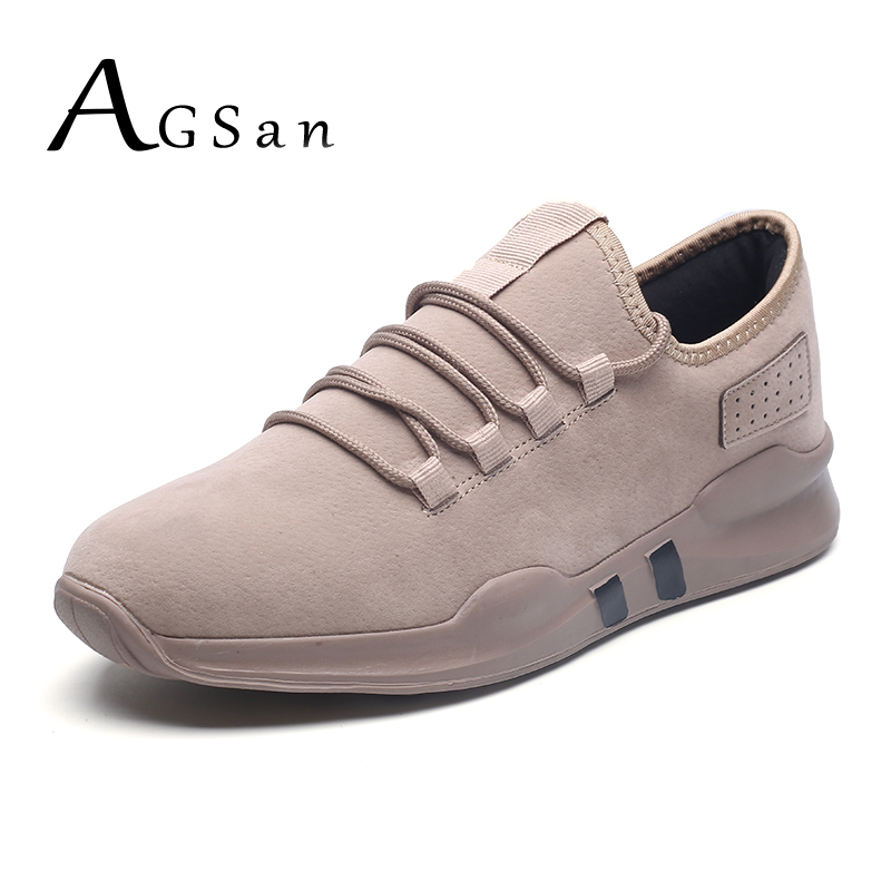 AGSan men sneakers casual shoes winter autumn design krasovki suede leather mens zapatos hombre khaki black walking shoes male  plush casual suede shoes boots mens flat with winter comfortable warm men travel shoes patchwork male zapatos hombre sg083