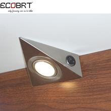 Modern 230V 1.2W Triangle LED Under Cabinet Light with switch surface Stainless Steel Kitchen lighting 6pcs/lot