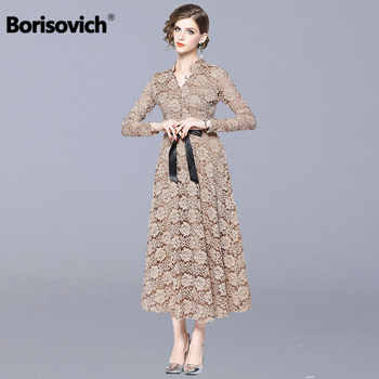 Borisovich Women Lace Long Dress New Brand 2018 Autumn Fashion England Style V-neck Luxury Elegant Ladies Party Dresses N040 - DISCOUNT ITEM  28% OFF Women\'s Clothing