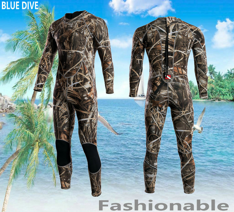 Blue dvie Camouflage for 3m m submersible service thermal long-sleeve one piece swimwear thickening male aureateness