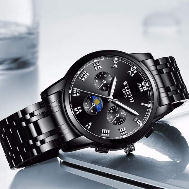 Stainless Steel Wristwatch Men Watches Fashion Business WLISTH Brands Watch  Man Quartz Clock Waterproof Good Quality Gift FD1432 ea5476bb5800
