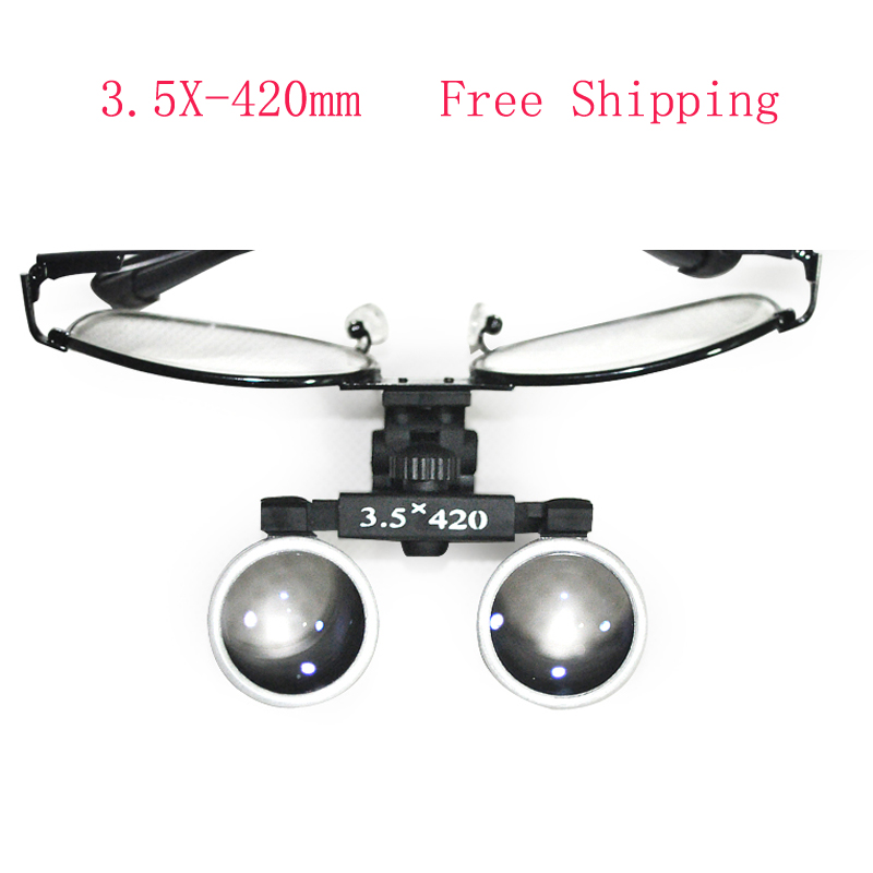 High-end Luxury New Dentist Black Metal Dental Surgical Medical Binocular Loupes 3.5X 420mm Optical Glass Loupe + Black Case 2018 new fashion dentist dental surgical medical binocular loupes optical glass loupe with colorful carry case free shipping
