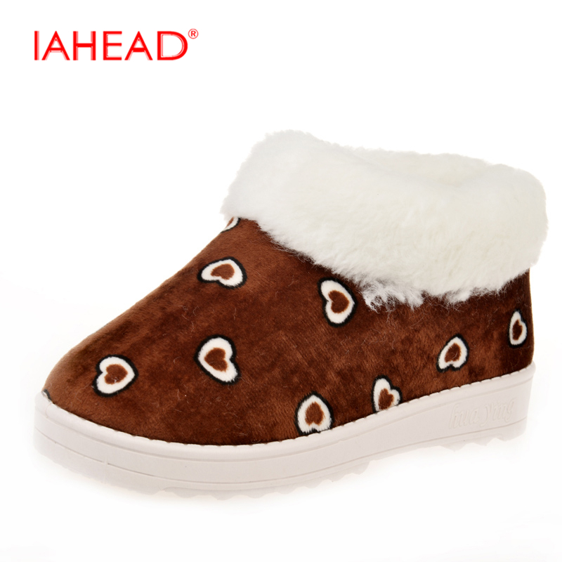 IAHEAD Winter Shoes New Brand Women Snow Boots Fashion Casual Plush Heart shaped Shallow Warm Shoes Ankle botas mujer UPA114