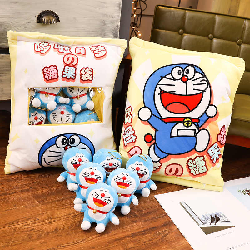 Cute Pudding 6pcs Doraemon Cat Doll Plush Balls Bag Snack Toy Soft Cartoon Animal Stuffed Doll Sofa Pillow Girlfriend Kids Gifts