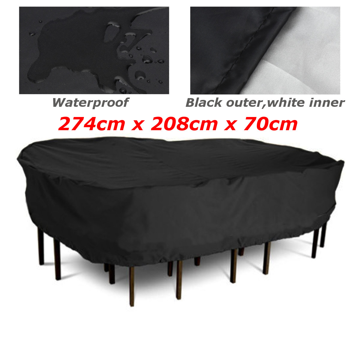 Polyester Patio Garden Outdoor Furniture Cover Waterproof Rectangular Table/Chair Protective Cover Table Cloth 274x208x70cm