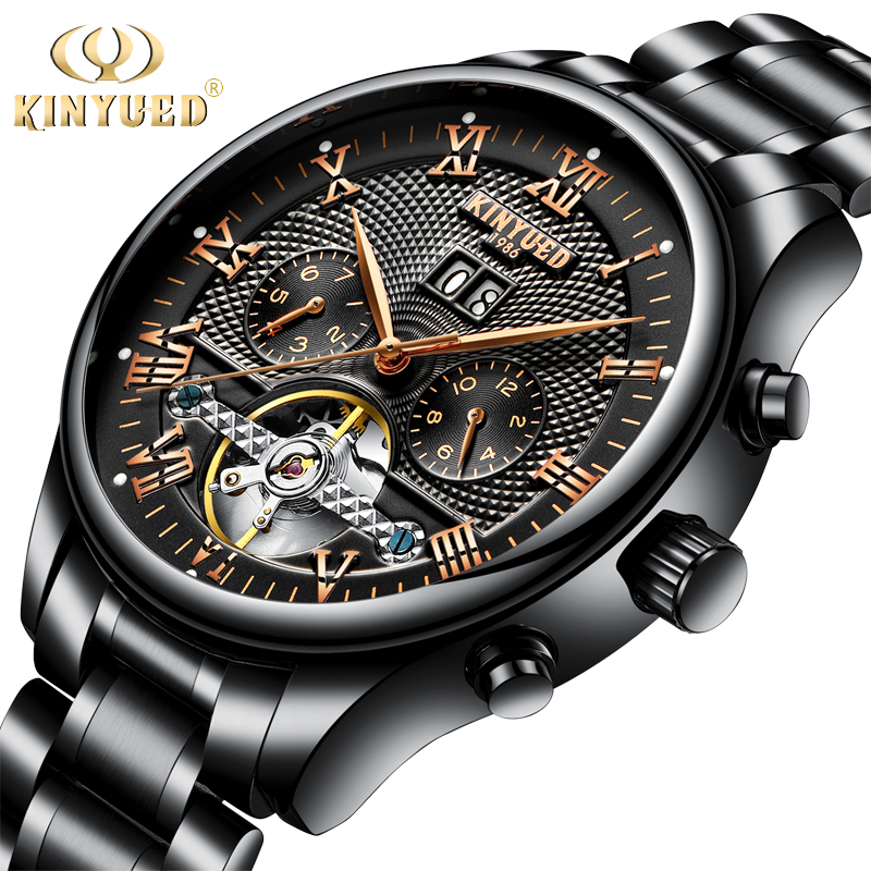 KINYUED Mens Perpetual Calendar Automatic Mechanical Watches Sapphire Stainless Steel Skeleton Watch Men Black Reloj Hombre