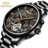 KINYUED Mens Stainless Steel Automatic Perpetual Calendar Watches Sapphire Mechanical Skeleton Watch Black Men Reloj Hombre