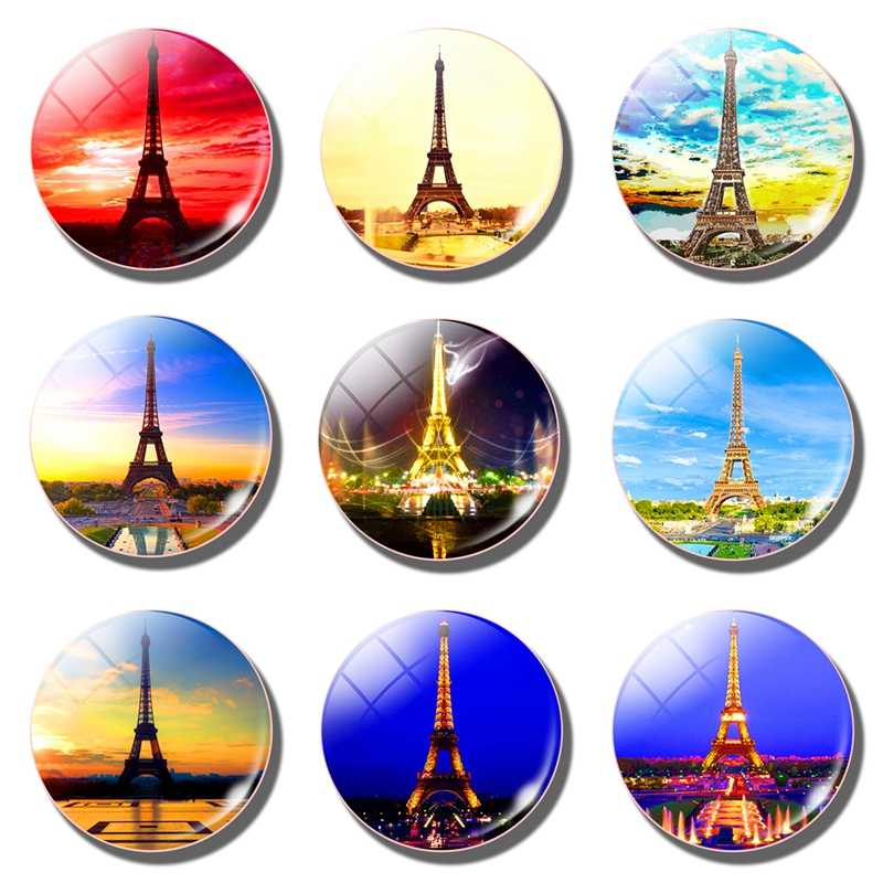 Paris Eiffel Tower  travel fridge magnets Fireworks art Glass Dome 30MM cities  tourist souvenir decorative refrigerator magnets