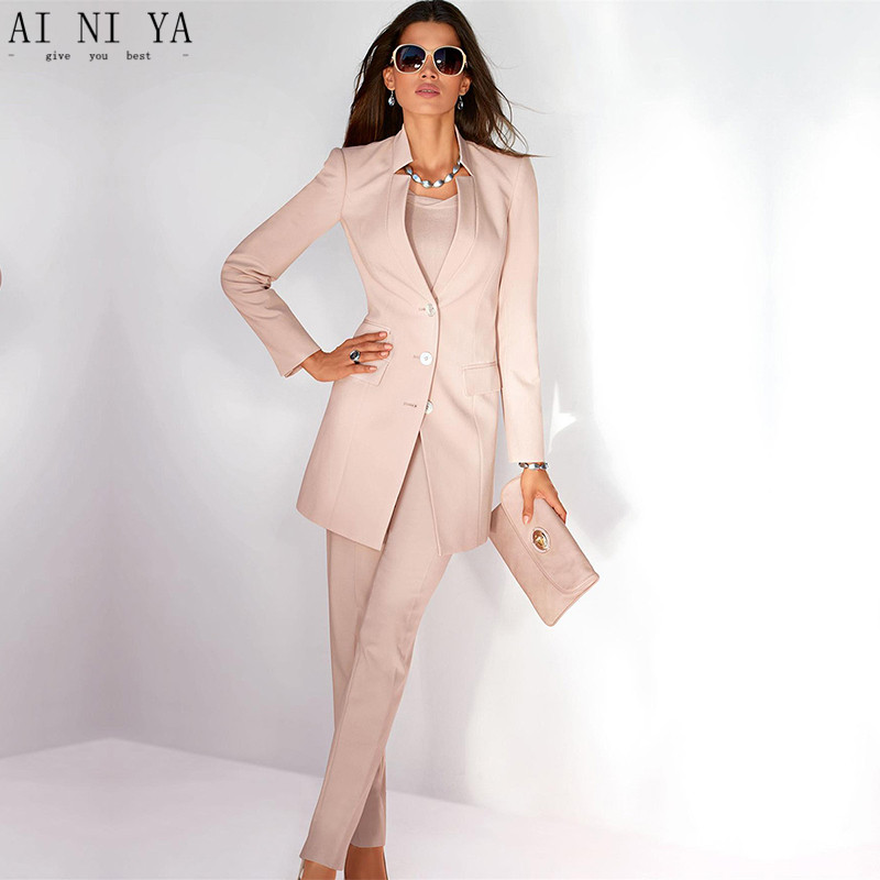 Jacket+Pants Womens Business Suit Light Pink Long Sleeves Female Office Uniform Ladies Formal Trouser Suits Single Breasted A11