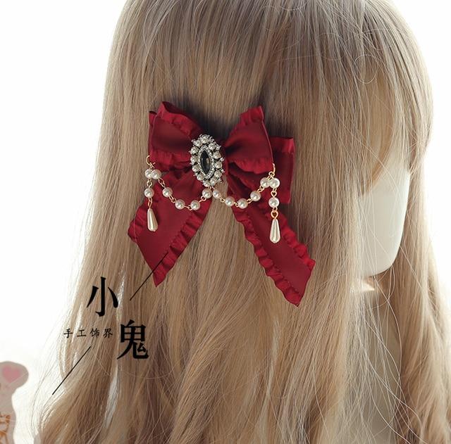 Vintage Dark Girls Gothic Lolita Pearls Bow Black Hat Headband Hair Accessories Headwear Women's Headdress Hair pin 5