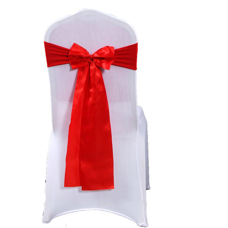 25Pcs/Lot Wedding Chair Sashes Bow Cover Bow Tie Ribbon Band Decor Wedding Party Banquet Chair Sashes Covers Hotel Supplies