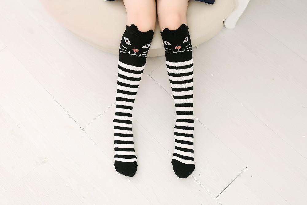 2017 Nowa Wiosna Jesień Dzieci Skarpetki Bawełniane Drukowanie 3D Kot Moda Cartoon Niedźwiedź Taniec Skarpetki Maluchy Dziewczynek Knee Socks 12