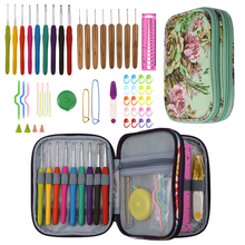 New Crochet Hooks Set Yarn Weave Knitting Needles Sewing Tools DIY Craft Tool Kits With Flower Storage Bag For Mom