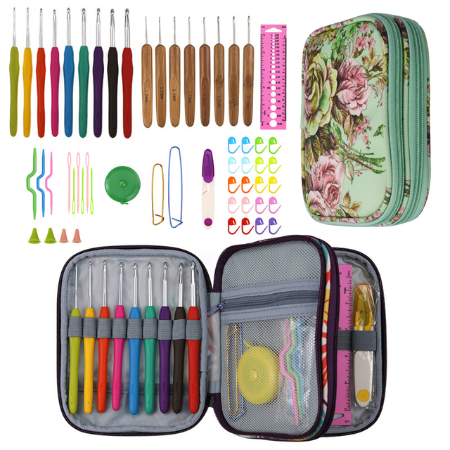 New Crochet Hooks Set Yarn Weave Knitting Hooks Needles Sewing Tools DIY Craft Tool Crochet Kits With Flower Storage Bag For Mom