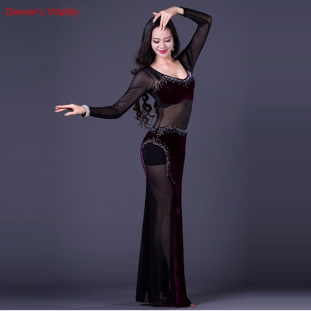 Image 2 - Korea Oriental One Piece Lady's Dance Costume Sexy Long Dress Transparent Mesh Dance Equipment Velvet Purple Black Hot Pink M L-in Belly Dancing from Novelty & Special Use