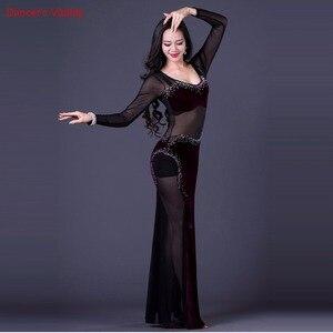 Image 2 - 韓国東洋ワンピース女性のダンス衣装セクシーなロングドレス透明メッシュダンス機器ベルベット紫黒ホットピンク ml