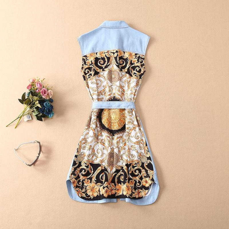 VERDEJULIAY Denim vestidos 2019 verano moda nuevo Jean Patchwork étnico impreso a la rodilla vestido camisa Mujer-in Vestidos from Ropa de mujer    2