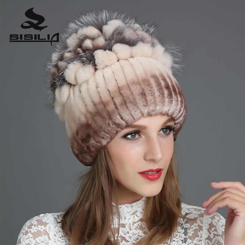 SISILIA 2017 invierno mujeres sombreros de piel de conejo con piel de zorro  sombreros buenos gorras 2cbbc468439
