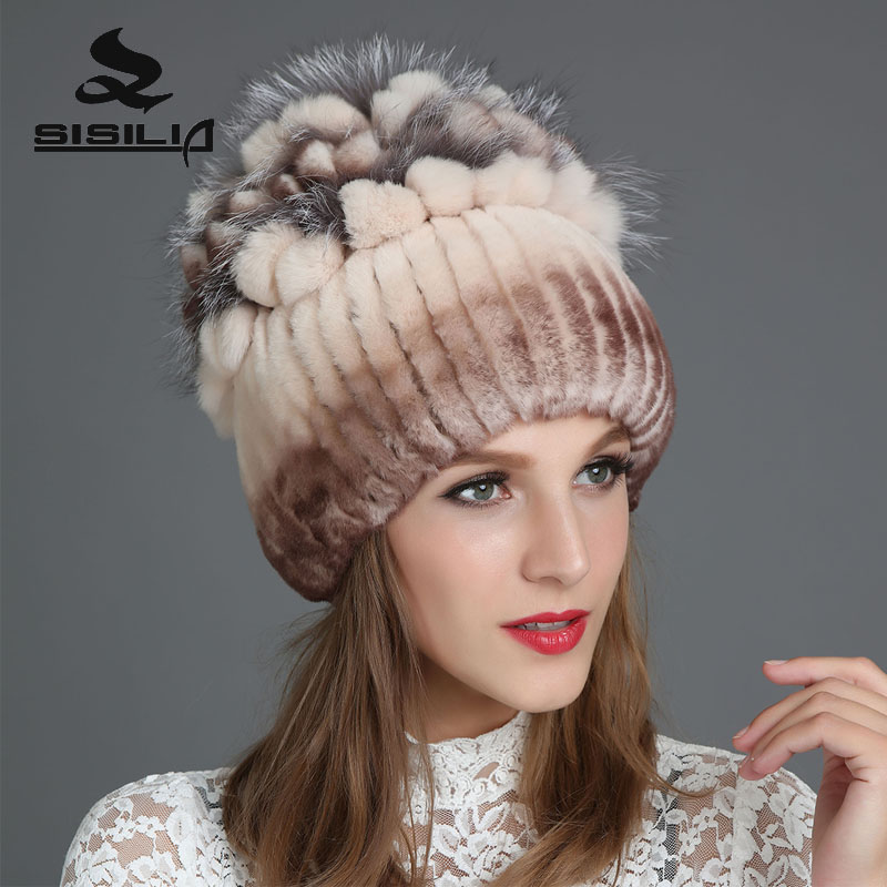 SISILIA 2017 Winter Women Rabbit Fur Hats With Fox Fur Good Hats Fashion Caps Warm Knitted Cotton Beanies Female Fur Caps winter rex rabbit fur hat for women with fox fur pom poms top knitted beanies fur hats 2015 new brand causal good quality caps