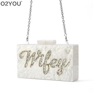 Image 4 - Personalizado nome da letra esposa pérola branco com ouro glitter acrílico bolsas senhora festa de viagem noite caixa acylic embraiagens bolsa