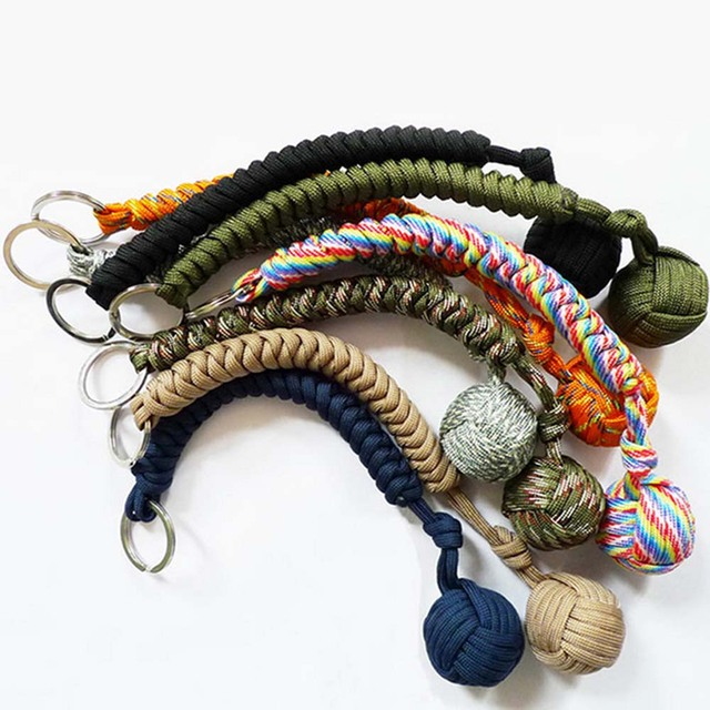 Puño de mono protectora de seguridad Multicolor para exteriores, rodamiento de bolas de acero, cordón de defensa personal, llavero de supervivencia, llavero de escalada