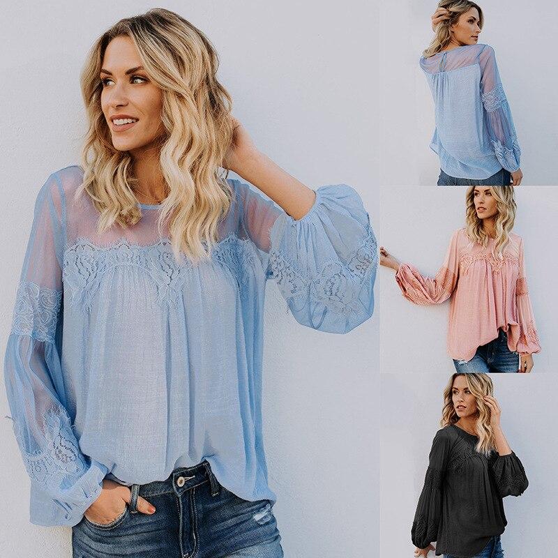 Femelle Blouse Spliced Manches Longues Chemises de Femmes Solide Couleur Lanterne Manches Vintage Dentelle Chemise 2018 Nouvelles Femmes Blouses