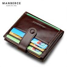 Mann Brieftasche Marke MANBERCE Männer Echtes Leder-mappen-männer Rindleder Geldbörse Kreditkarteninhaber Herren Short Brieftasche Freies Verschiffen