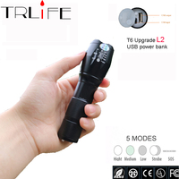 USB Rechargeable LED 8000 Lums Flashlight Powerful CREE XM L2 5 Modes LED Torch Flash Light