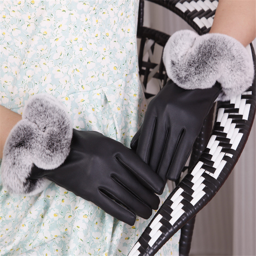 Ladies leather gloves wool lined - Warm Winter Women Leather Gloves For Women Ladies Black Thickening Genuine Leather Gloves Female Fleece Lined
