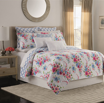 3 Pieces Quilt Coverlet Bed cover Reversible Cotton Pink Floral Printed Flowers Pattern Bedspread Bed Coverlets set Pillow shams