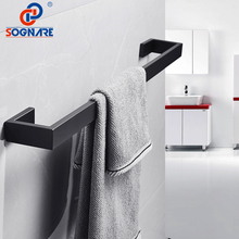 SOGNARE Black Matte Towel Rack Bath Towel Bar Wall Mounted Single Towel Rail Towel Holder 304 Stainless Steel Bathroom Hardware free shipping towel racks luxury bathroom accesserries golden finish bath towel shelves towel bar bath hardware db008k 1