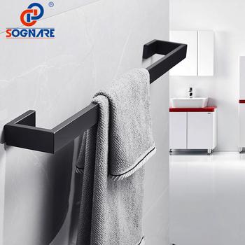 SOGNARE czarny matowy wieszak na ręczniki wieszak na ręczniki naścienny pojedynczy wieszak na ręczniki uchwyt na ręczniki 304 ze stali nierdzewnej wyposażenie łazienkowe tanie i dobre opinie Wieszaki 3103S 60 cm STAINLESS STEEL Pojedyncze ręczniki bary Black Matte Nickel B Towel Bar Towel Bars 304 Stainless Steel