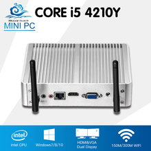 Fanless Mini Computer Intel Core i5 4210Y Windows 10 Linux Computadora Desktop HD Graphics 4200 HTPC TV Box Barebone Mini PC