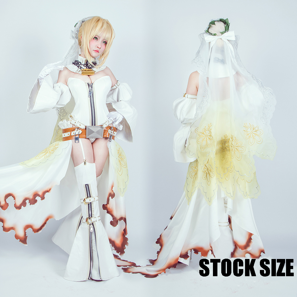 Anime Fate/GO saber Niru Wedding Dress 2.0 version Full set Cosplay Costume New S-XL 2017 free shipping