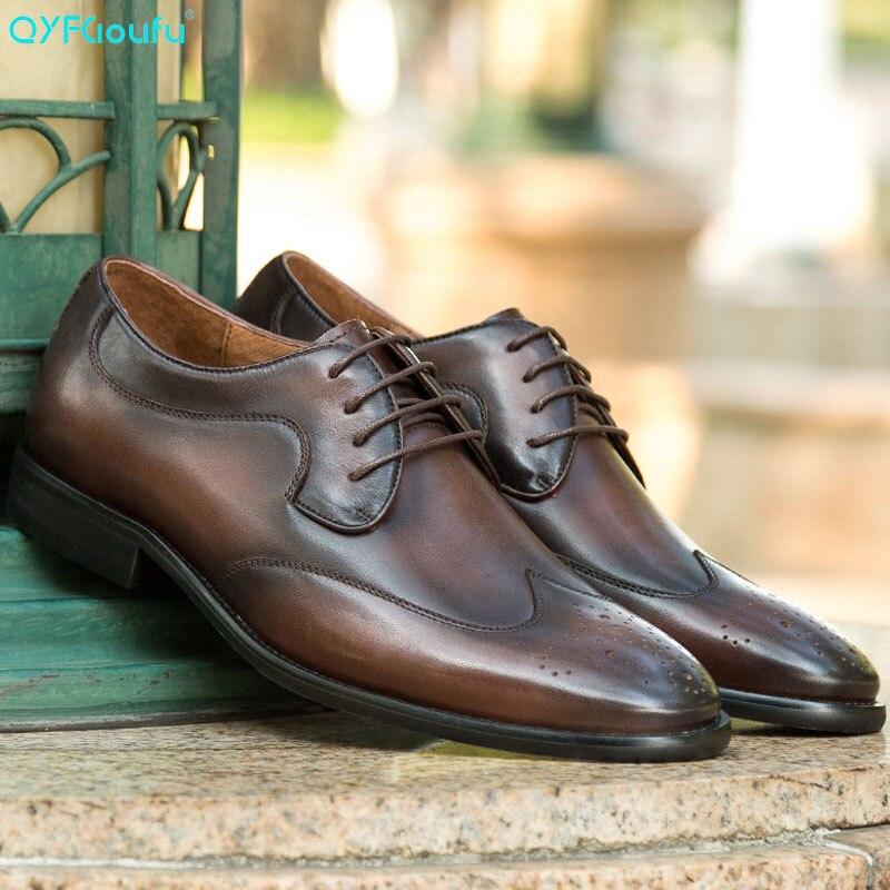 QYFCIOUFU New Brand Genuine Leather Business Dress Shoe Men Retro Luxury Italian Oxford Shoes For Classic Brogue