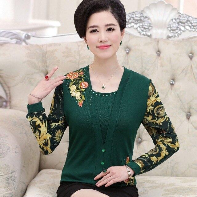 Мода 2016 женщин среднего возраста весна лето новый приход искусственного двух частей топ мать clothing с длинными рукавами Футболки женщин основные