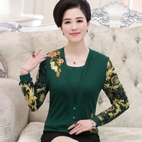 fashion 2016 middle age women spring summer new arrival faux two piece top mother clothing long-sleeve T-shirt female basic