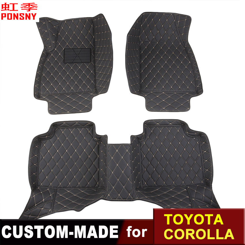 Car Floor Mats Customized for Toyota Corolla E120 E140 E150 E160 3D Floor Carpets Custom-made Auto All-covered Foot Mats car floor mats for mazda 5 5 7 seats customized foot rugs 3d auto carpets custom made specially for mazda 2 3 5 6