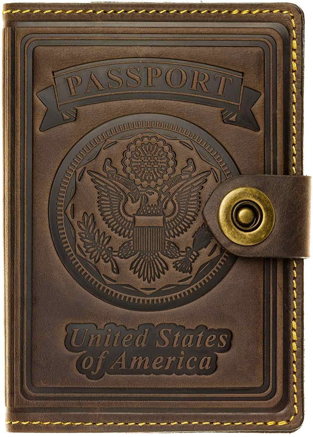 Genuine leather passport covers ID Card Wallet  Leather RFID Blocking US Passport  exclusive 3D embossing